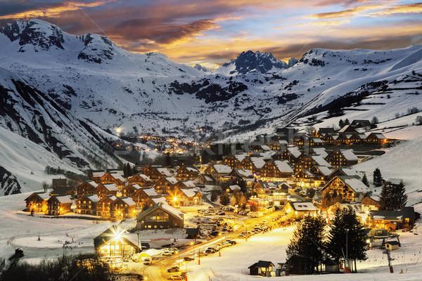 Ski resort in French Alps,Saint jean d'Arves Stock photo © vwalakte