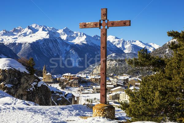 Falu kereszt kilátás Franciaország tájkép hó Stock fotó © vwalakte