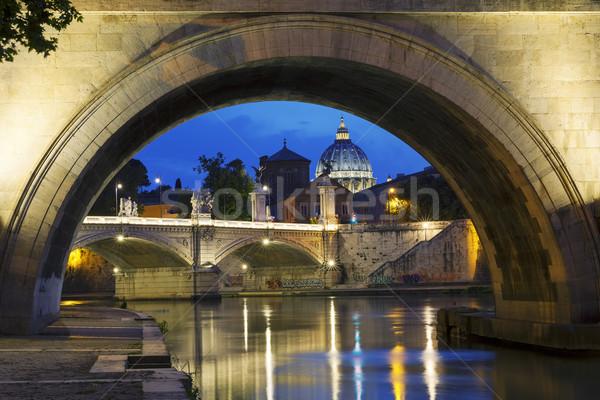 Nacht Rome Italië stad kerk Stockfoto © vwalakte