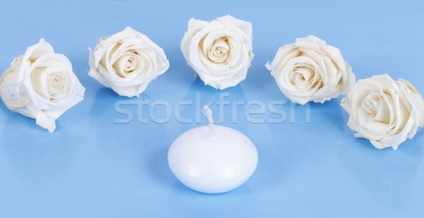 Fehér gyertya rózsák kék esküvő rózsa Stock fotó © vwalakte