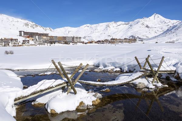 表示 村 フランス 旅行 湖 天気 ストックフォト © vwalakte