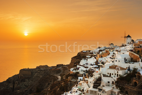 Stock fotó: Falu · naplemente · Santorini · sziget · Görögország · égbolt