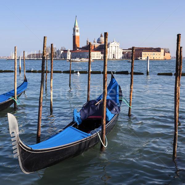 Famous view of San Giorgio maggiore with gondolas Stock photo © vwalakte