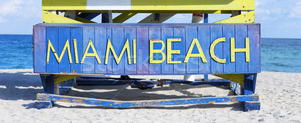 Famous sign on the beach in Miami Stock photo © vwalakte