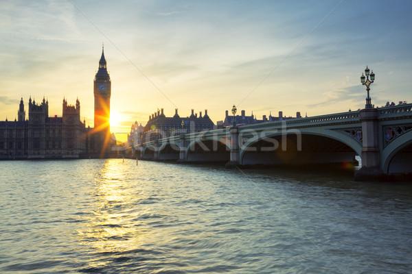 Big Ben relógio torre Londres pôr do sol especial Foto stock © vwalakte