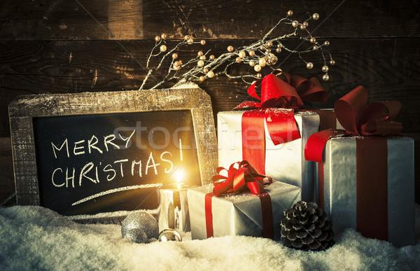 Рождества подарки свечу веселый аннотация мяча Сток-фото © vwalakte