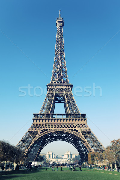 Eiffel tower with cross photographic processing  Stock photo © vwalakte