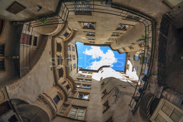 Híres helyszín Lyon város Franciaország épület Stock fotó © vwalakte