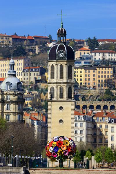 Lyon torre vertical ver famoso França Foto stock © vwalakte