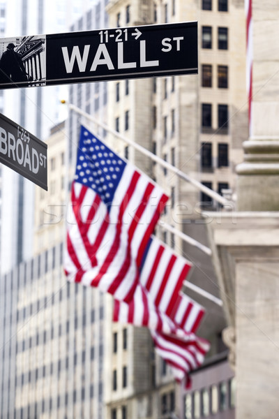 Wall Street teken New York beurs business geld Stockfoto © vwalakte