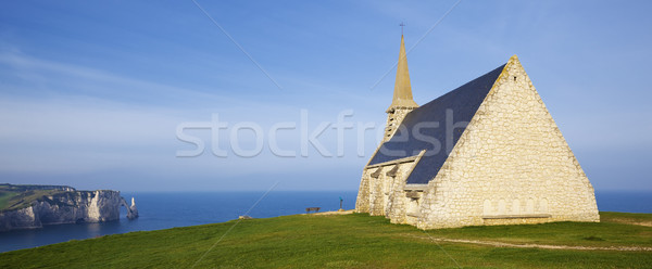 Panoramic view of Church Notre Dame de la Garde chapel and Etret Stock photo © vwalakte