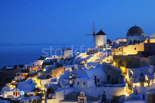 деревне ночь Санторини Греция дома закат Сток-фото © vwalakte