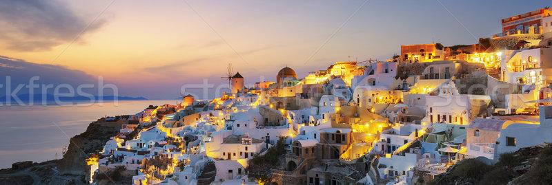 Stock fotó: Panorámakép · kilátás · naplemente · Santorini · város · nap