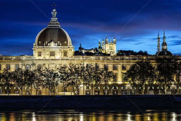 Kilátás Lyon város naplemente égbolt épület Stock fotó © vwalakte