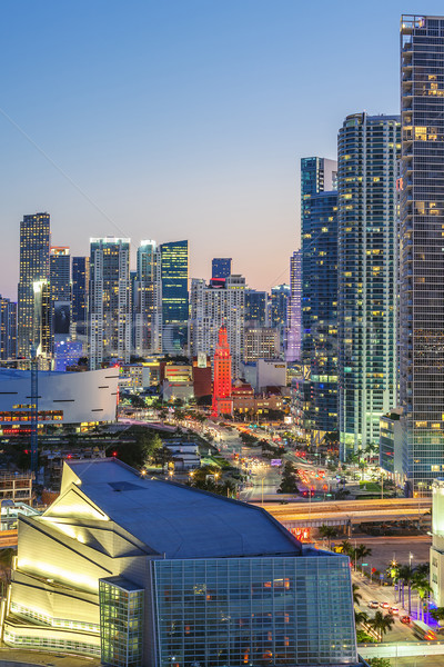 Vertical view of Miami downtown Stock photo © vwalakte
