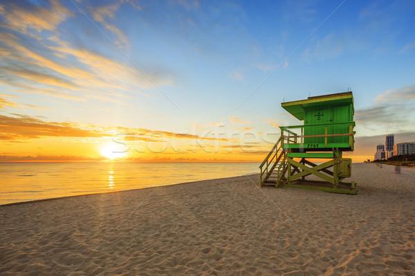 Майами юг пляж Восход спасатель башни Сток-фото © vwalakte