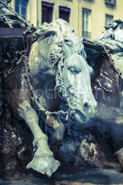 Ló szökőkút Lyon Franciaország víz művészet Stock fotó © vwalakte