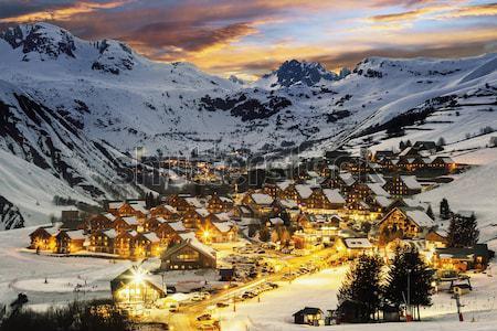 Stockfoto: Zonsondergang · Frankrijk · hemel · landschap · sneeuw