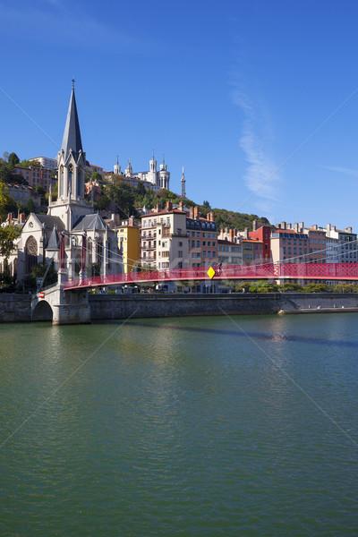 Ver Lyon cidade vermelho passarela rio Foto stock © vwalakte