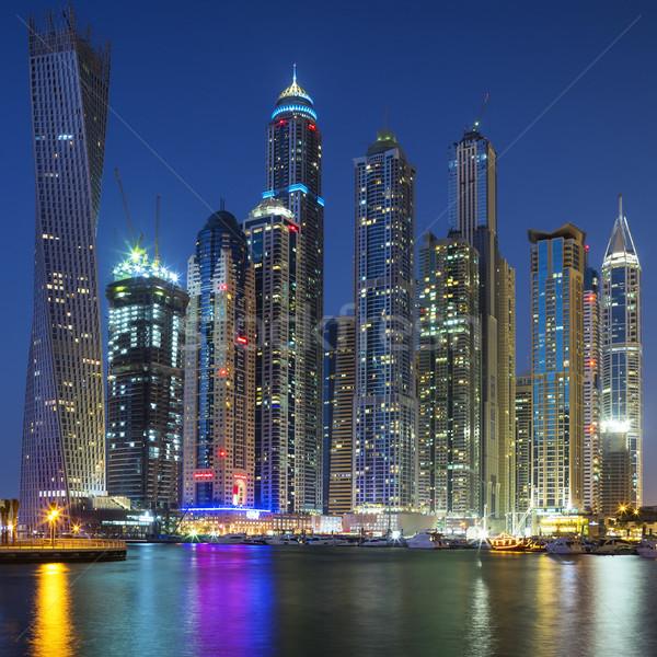 Dubai Marina captured in the dusk. Stock photo © vwalakte