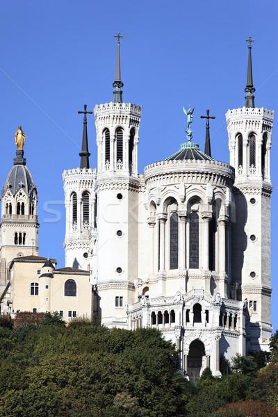 Függőleges kilátás Lyon bazilika nagy kék ég Stock fotó © vwalakte