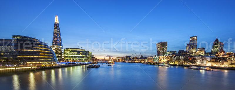 Panorámakép kilátás London sziluett Tower Bridge égbolt Stock fotó © vwalakte