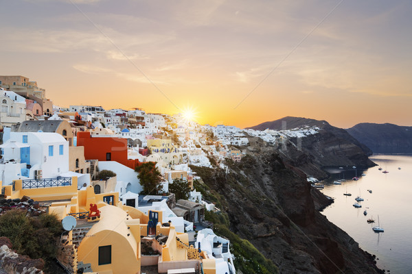 View of Oia at sunrise Stock photo © vwalakte
