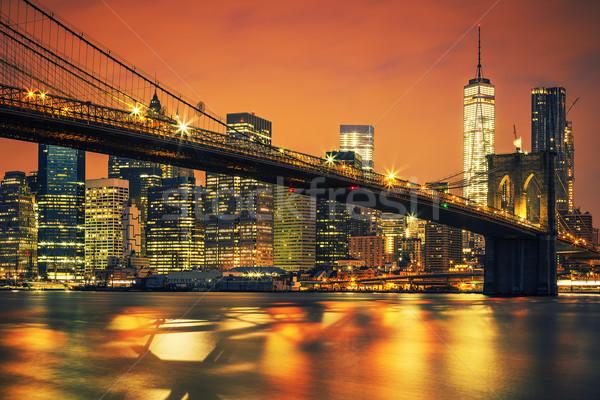 New York City Manhattan midtown at sunset Stock photo © vwalakte
