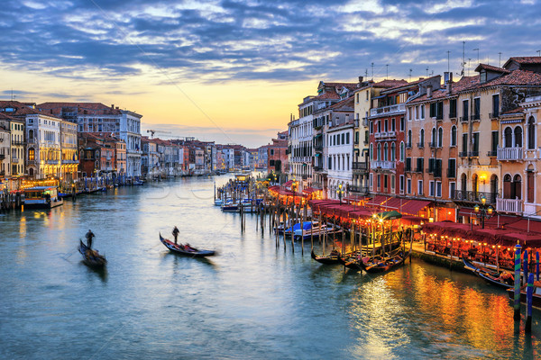 gondolas at sunset in Venice Stock photo © vwalakte