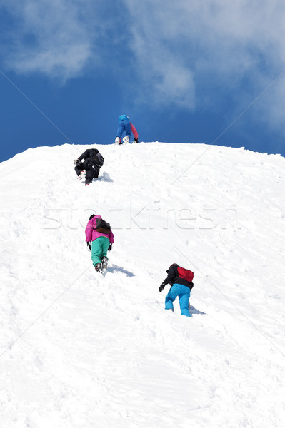 Kötél csapat hó egészség sportok hegy Stock fotó © vwalakte