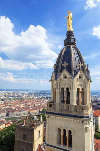 View of Lyon with Golden Statue of Virgin Mary Stock photo © vwalakte