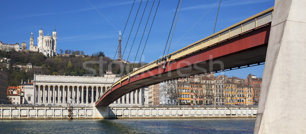view of Saone river at Lyon with red footbridge Stock photo © vwalakte