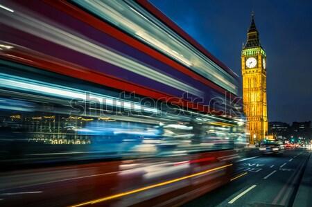 Autobús puente Big Ben noche Londres ciudad Foto stock © vwalakte
