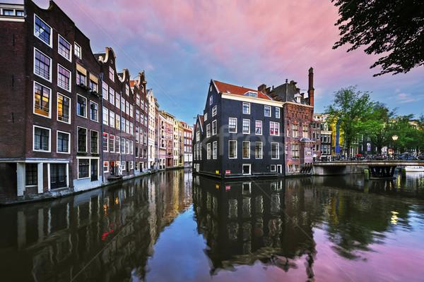 Сток-фото: Амстердам · канал · закат · Нидерланды · дома · улице
