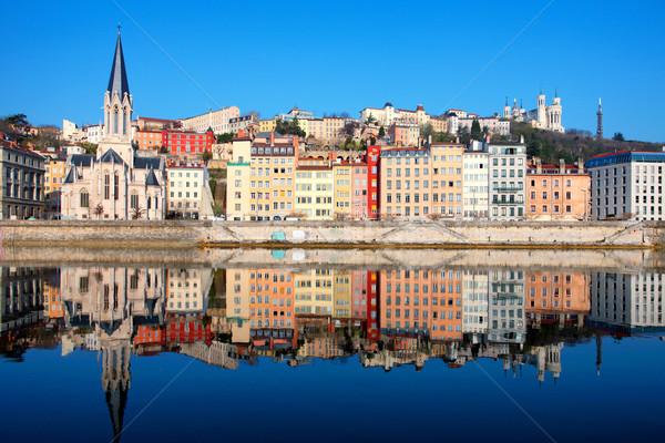 Híres kilátás folyó Lyon város Franciaország Stock fotó © vwalakte
