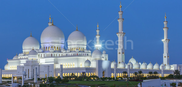 Panoramic view of Abu Dhabi Sheikh Zayed Mosque by night Stock photo © vwalakte