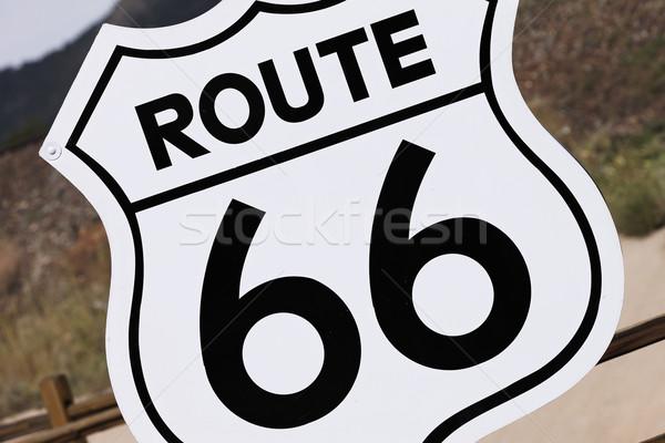 Route 66 teken USA oude nostalgisch zwarte Stockfoto © vwalakte
