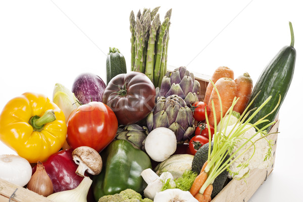 Crate of raw fresh vegetables Stock photo © vwalakte