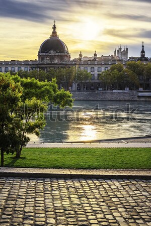 sunset with Rhone river Stock photo © vwalakte