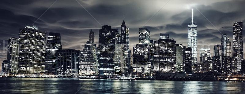 Сток-фото: темно · ночь · Manhattan · Нью-Йорк · мнение · здании