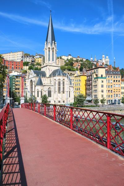 Ver Lyon cidade vermelho passarela Foto stock © vwalakte