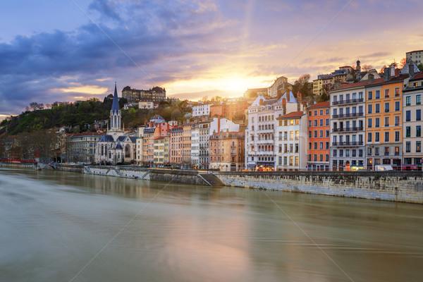 Ver rio Lyon cidade pôr do sol França Foto stock © vwalakte