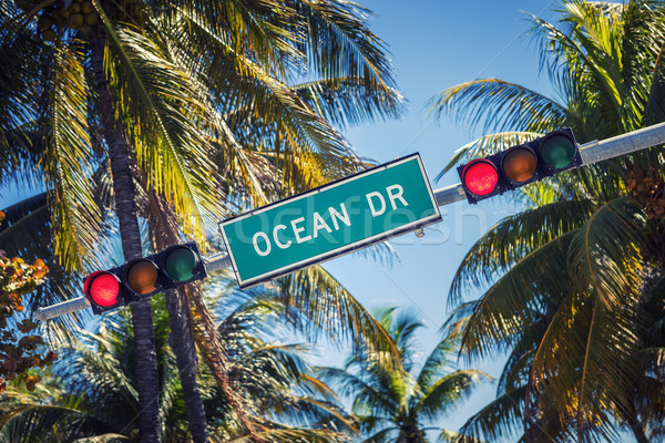 Famous street sign of Ocean Drive Stock photo © vwalakte