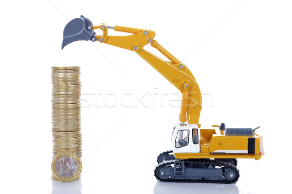 euro money coins with digger Stock photo © vwalakte