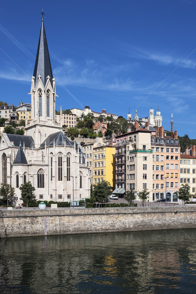 Vertical view of Lyon and Saone River Stock photo © vwalakte