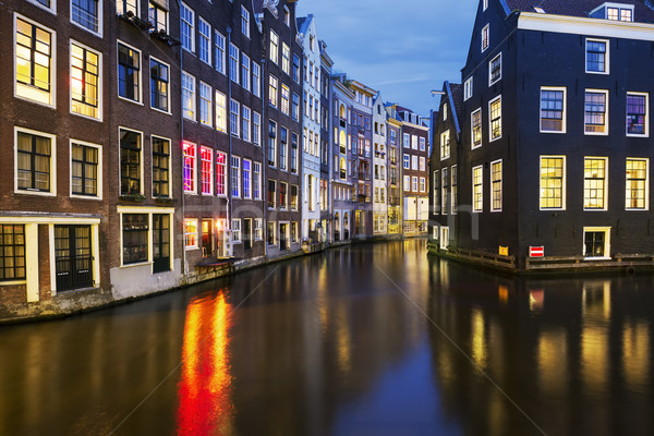 Stock photo: View of famous amsterdam canal at night