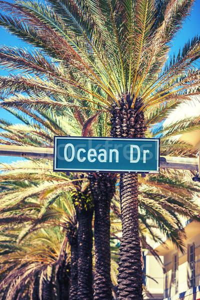 Oceaan drive straat teken palmboom Miami strand Stockfoto © vwalakte