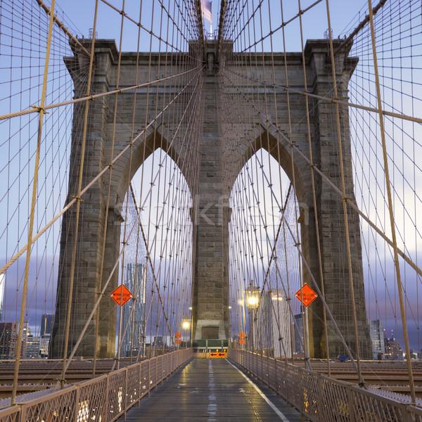 Famous Brooklyn Bridge in Manhattan Stock photo © vwalakte