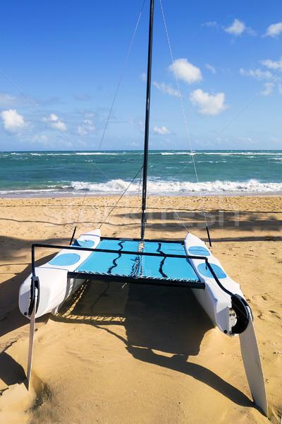 Catamarán playa verano cielo sol deporte Foto stock © vwalakte