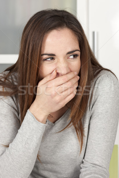 Stock photo: Young woman yawning